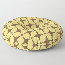 Mid Century Modern Star Pattern Brown and Yellow Floor Pillow