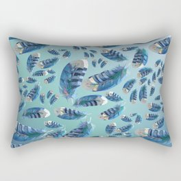 """Blue feathers flying in the air"" Rectangular Pillow"