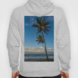 Sunset on the edge of the sea. Two huge palm trees pointing to the sky. Hoody
