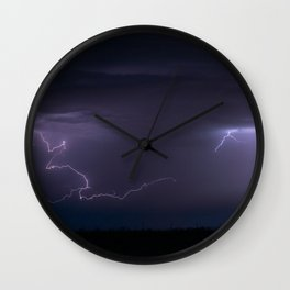 Summer Lightning Storm On The Prairie IV - Nature Landscape Wall Clock