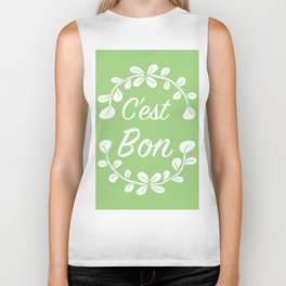 French Typography Print in Spring Green Biker Tank