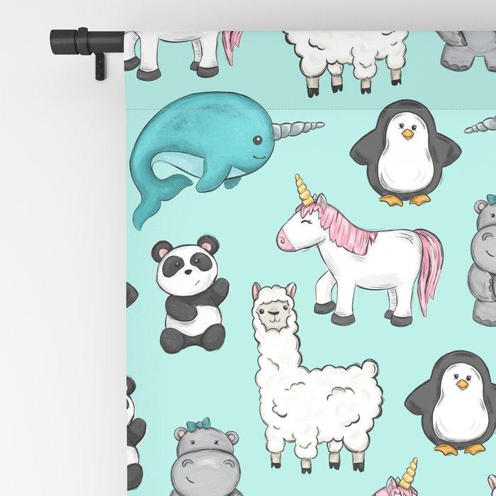 Narwhal,Unicorn, Panda, Llama, Penguin, Hippo, Animal Print For Girls Blackout Curtain