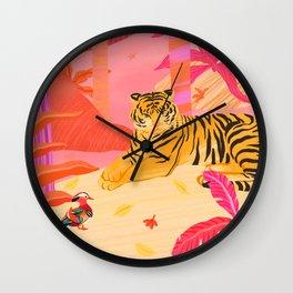 Tiger and Mandarin Ducks Wall Clock