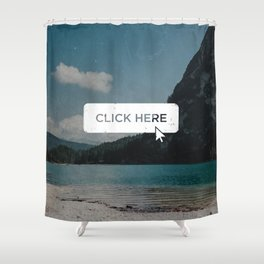 Click Here Button Shower Curtain