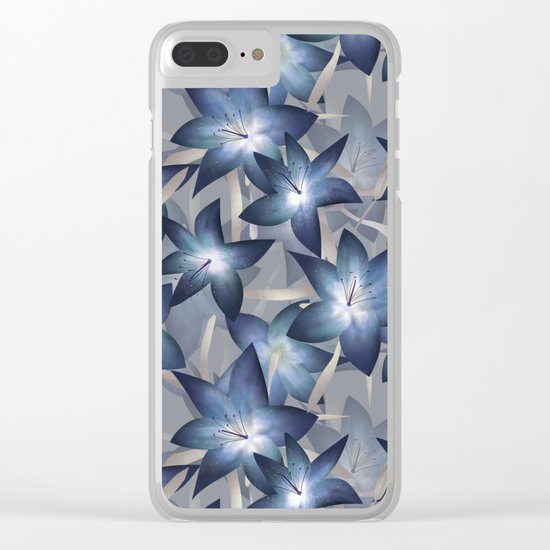 Blue lilies. Lily Clear iPhone Case
