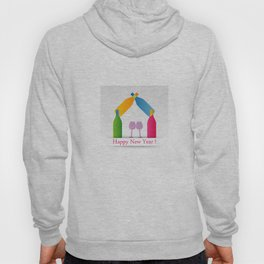 New year greetings with House formed with many colorful bottles and glasses Hoody