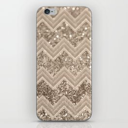 Sepia Glitter Chevron #1 #shiny #decor #art #society6 iPhone Skin