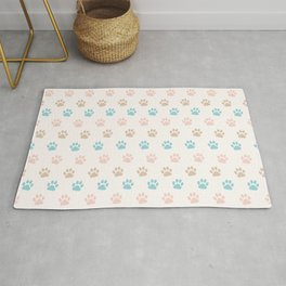 Cute Cat Paw Print Pattern – Pink Blue Brown and Cream Rug