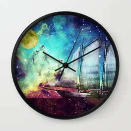 Galileo's Dream - Schooner Art By Sharon Cummings Wall Clock