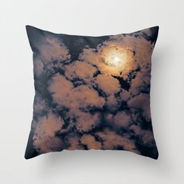 Full moon through purple clouds Throw Pillow