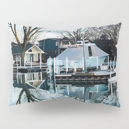 """Winter boat Reflection"" photo image by Willowcatdesigns Pillow Sham"