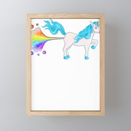 Unicorn Farts Unicorn Farting a Rainbow Framed Mini Art Print