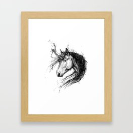 Shaggy Unicorn Framed Art Print