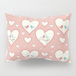 Vintage chic pastel pink romantic love birds hearts pattern Pillow Sham