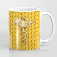 medical Mugs featuring Gold Medical Caduceus by MacDonald Creative Studios