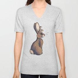 Fluffy Bunny Jackalope Unisex V-Neck