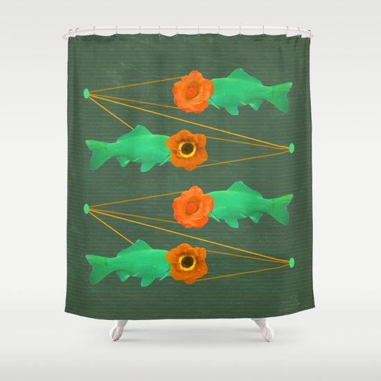 fishes and flowers color option Shower Curtain