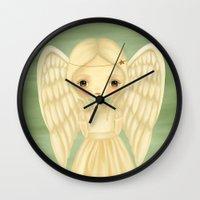 virgo Wall Clocks featuring Virgo by The Midnight Rabbit