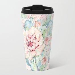 Cactus Rose Heart on Pink Travel Mug