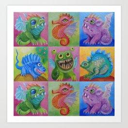 Baby Dragon Funny Monster Comic Illustration Painting for children Nursery decor Art Print