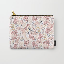 Minimal Blooming Flowers - Blush Pink, Yellow, Blue Carry-All Pouch