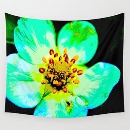 Solarized Strawberry Flower Wall Tapestry