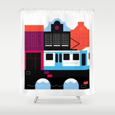 Postcards from Amsterdam / Tram Shower Curtain