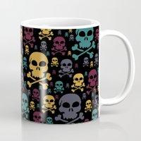 skulls Mugs featuring Skulls by Alice Gosling