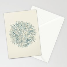 Denim flower circle Stationery Cards