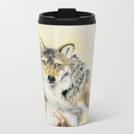 Totem Wolf: Gray wolf (c) 2017 Metal Travel Mug