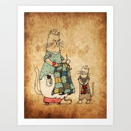 Raggedy Cats-New Lovie Art Print