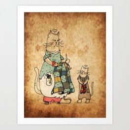 Raggedy Cats-New Lovie Art Print