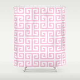Large Light Pink and White Greek Key Pattern Shower Curtain