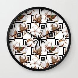 Cotton Flower Pattern 06 Wall Clock