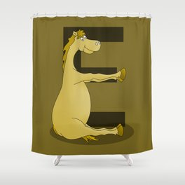 Pony Monogram Letter E Shower Curtain