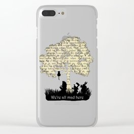 We're All Mad Here II - Alice In Wonderland Silhouette Art Clear iPhone Case