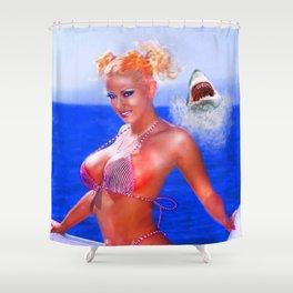 jenna shark photo bomb Shower Curtain