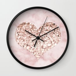 Rose gold - heart Wall Clock