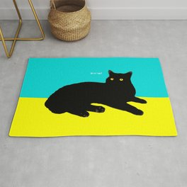 Black Cat on Yellow and Sky Blue Rug