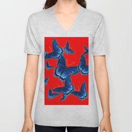 DECORATIVE CHINESE RED PATTERNED  BLUE BUTTERFLY FLOCK Unisex V-Neck