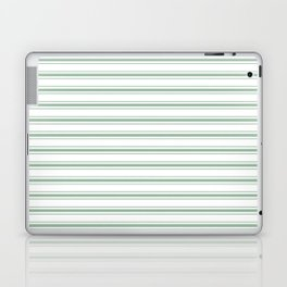 Moss Green and White Mattress Ticking Wide Striped Pattern Laptop & iPad Skin