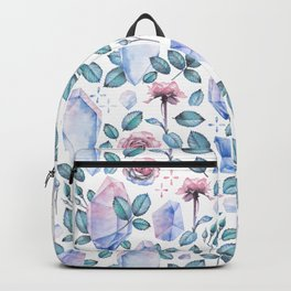 Watercolor crystal and rose leaves Backpack