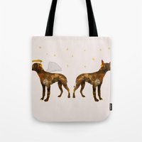 puppies Tote Bags featuring puppies by shrewmole