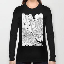Flower Bouquet Black and White Illustration Long Sleeve T-shirt