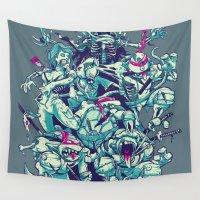 ninja turtles Wall Tapestries featuring Teenage Zombie Ninja Turtles by Charlie Layton