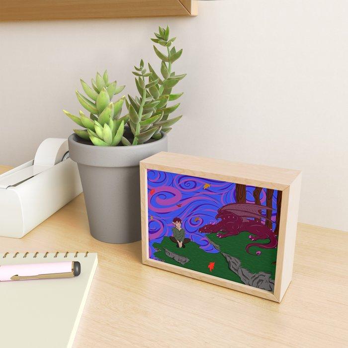 Elf and Dragon Framed Mini Art Print