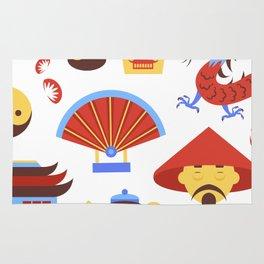 China viajes símbolos de la cultura tradicional china patrón transparente ilustración vectorial Rug