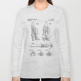 Nasa Space Shuttle Patent - Nasa Shuttle Art - Black And White Long Sleeve T-shirt