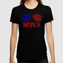 Merica America American Flag Sunglasses T-shirt