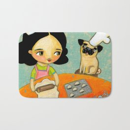 Kitchen Art Pug dog helps make perogies cute food art poster painting  by Tascha Bath Mat